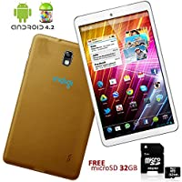 Indigi Google Android 4.2 Tablet PC Luxury Feel Gold Leather Back + FREE 32GB