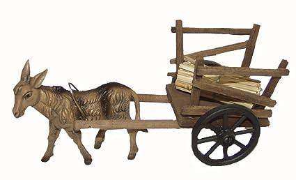 Burro de madera carretilla carro para Belén pesebre para Belén