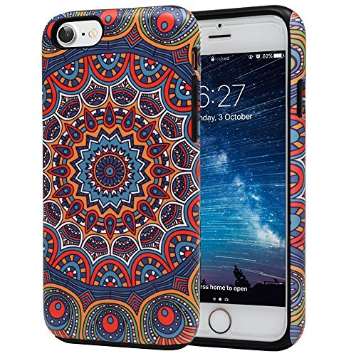 iPhone 7 Case, Arabic Pattern Slim Dual Hard Case [Shockproof] [Dual Layer] [Drop Protection] Fashion Design Pattern for Apple iPhone 7 - Arabic Indian (Arabic Cell Phone)