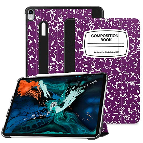 Fintie SlimShell Case for iPad Pro 12.9 3rd Gen 2018 [Supports 2nd Gen Pencil Charging Mode] - Lightweight Stand Cover with [Secure Pencil Holder] Auto Sleep/Wake, Composition Book Purple