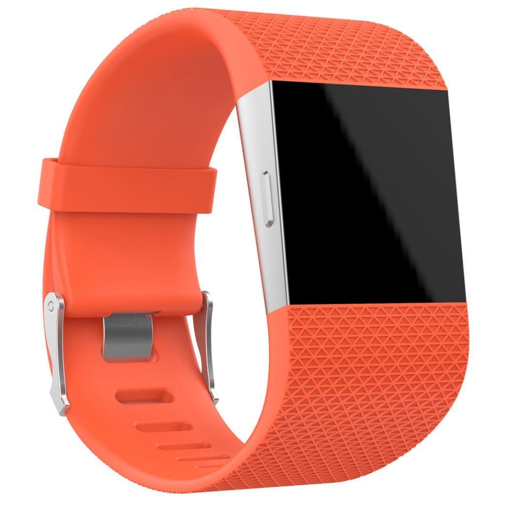 For Fitbit Surge腕時計バンド、hp95 ( TM ) Large & Smallサイズ交換リストバンドバンドストラップ+クラスプバックルツールキットfor Fitbit Surge Large Size オレンジ HP-F-SurgeBand Large Size|オレンジ オレンジ Large Size B075FQSB79