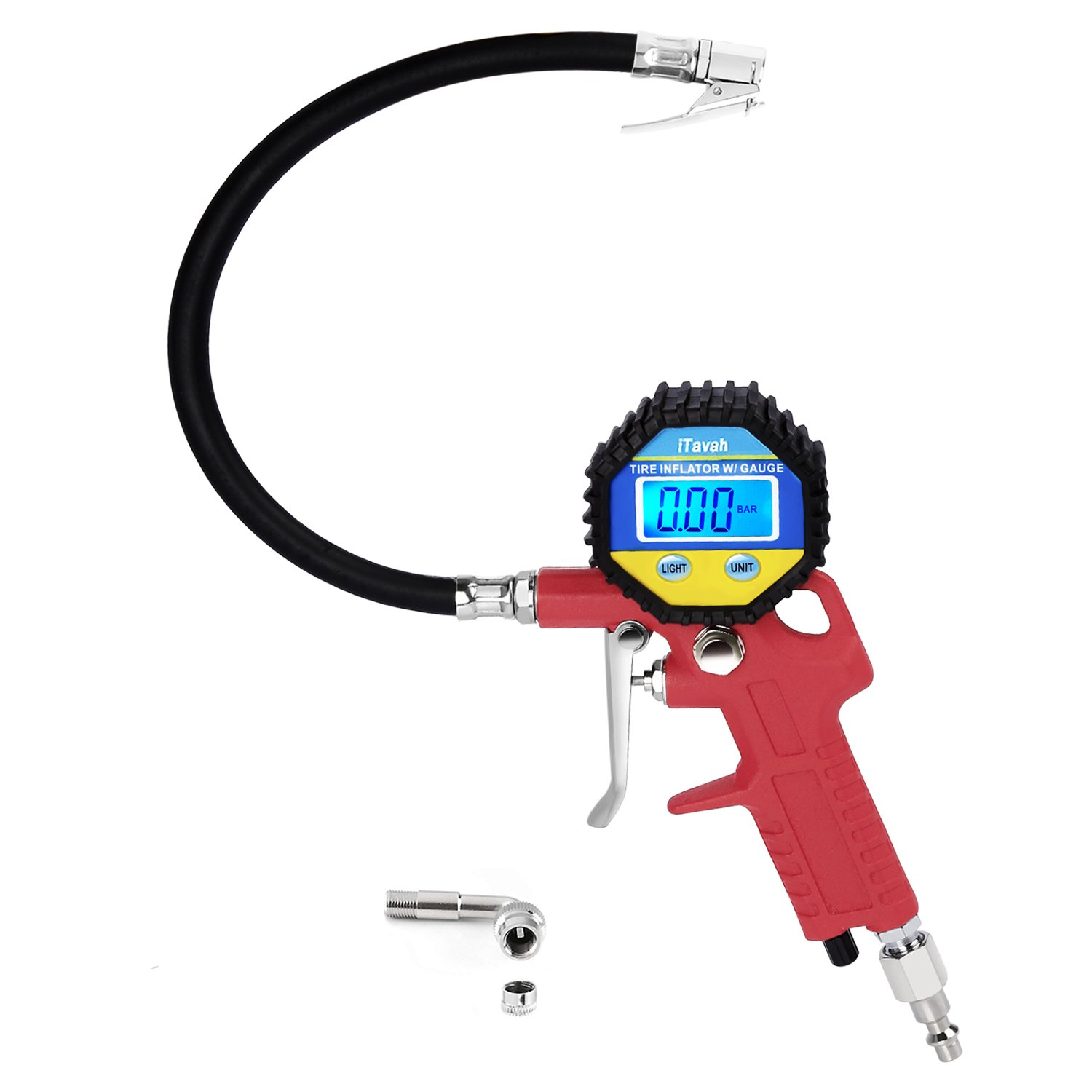 iTavah (Upgraded) Digital Tire Pressure Gauge, Integrated Closed, Straight Lock-On Air Chuck, LCD Backlit Screen,Tire Inflator with 90 Degree Hose 4333466905