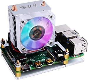 GeeekPi Raspberry Pi Cooling Fan, Raspberry Pi ICE Tower Cooler, RGB Cooling Fan with Raspberry Pi Heatsink for Raspberry Pi 4 Model B & Raspberry Pi 3B+ & Raspberry Pi 3 Model B