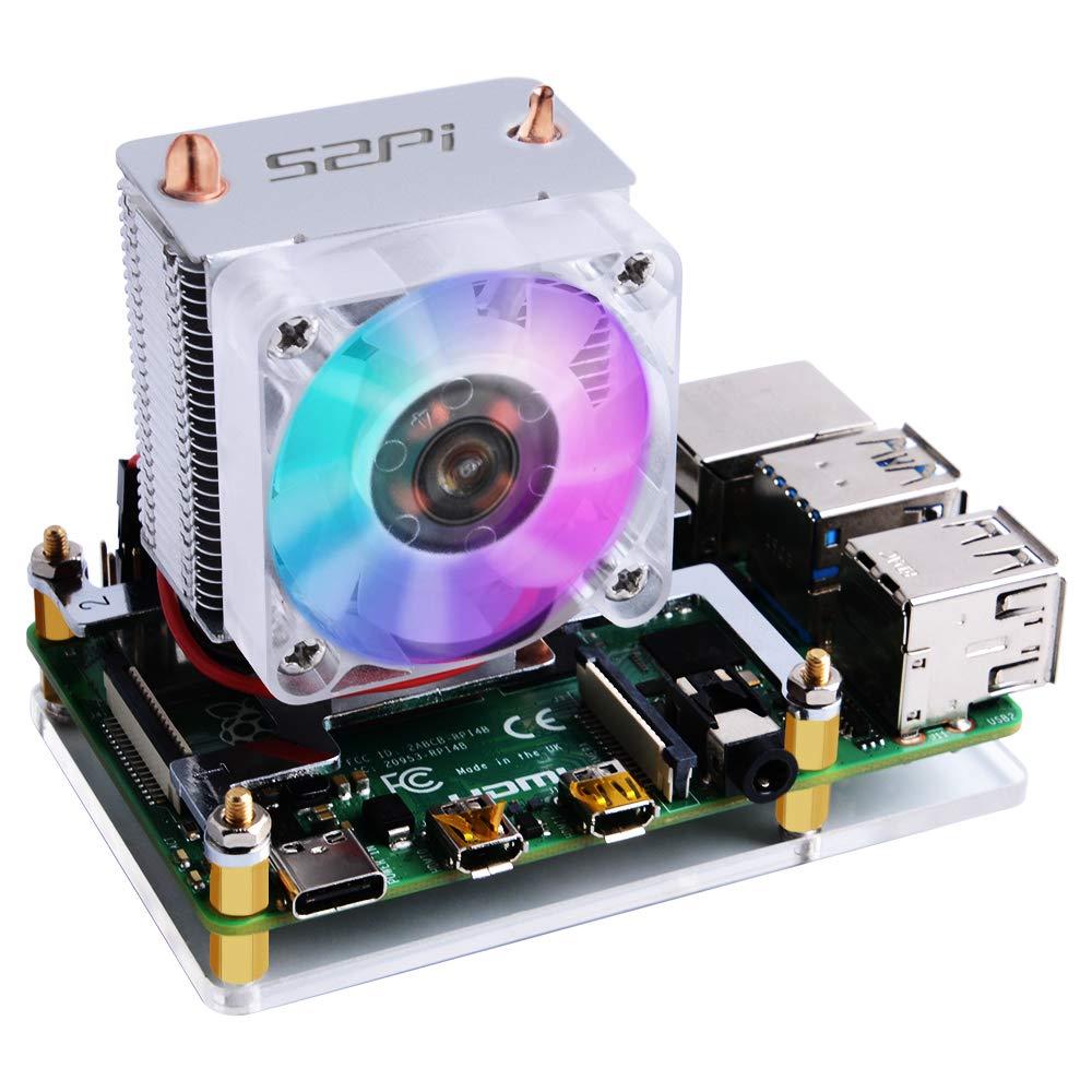GeeekPi 52Pi ICE Tower Cooler CPU Cooling RGB LED Fan V2.0 for Raspberry Pi 4 Model B & Raspberry Pi 3B+ & Raspberry Pi 3 Model B by GeeekPi