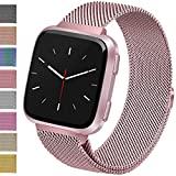 Vancle For Fitbit Versa Bands, Stainless Steel Milanese Mesh Loop Metal Replacement Wristbands with Magnet Lock for Fitbit Versa (Rose Pink, Small)