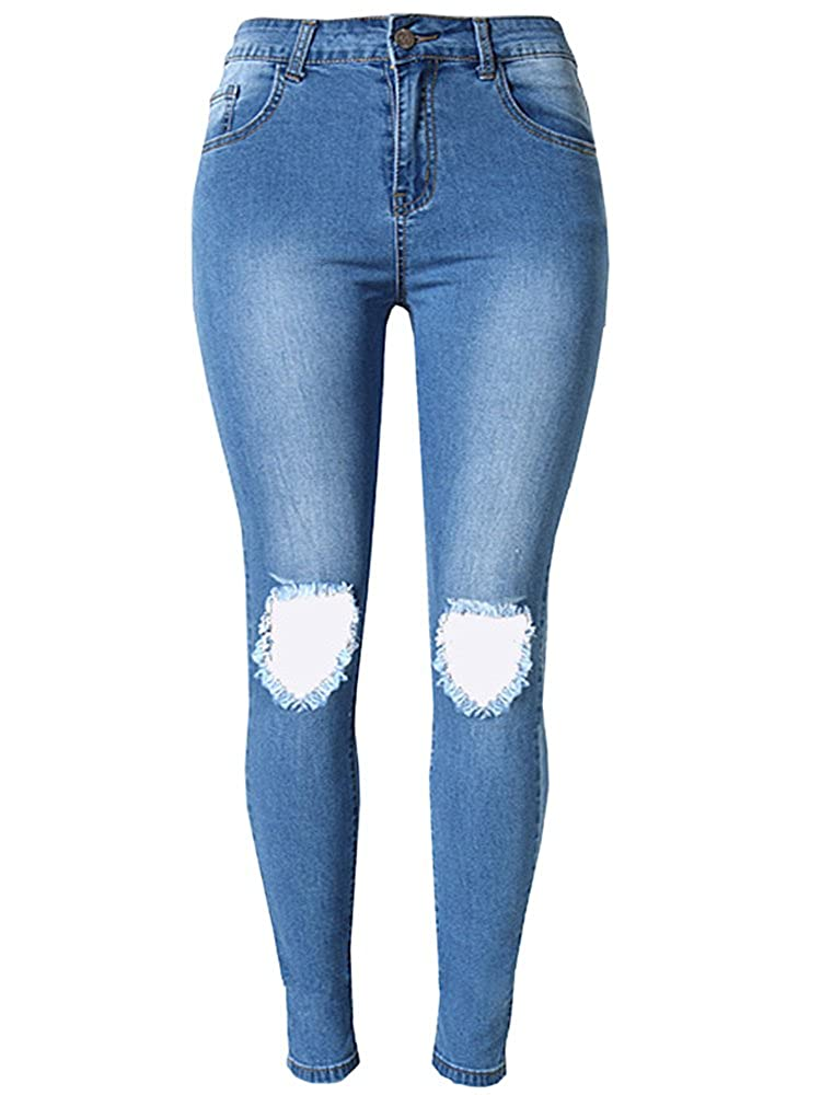 7a6baaacad7 OLRAIN Womens Long Jeans Destroyed Ripped Hole Trousers Denim Pants at  Amazon Women's Jeans store