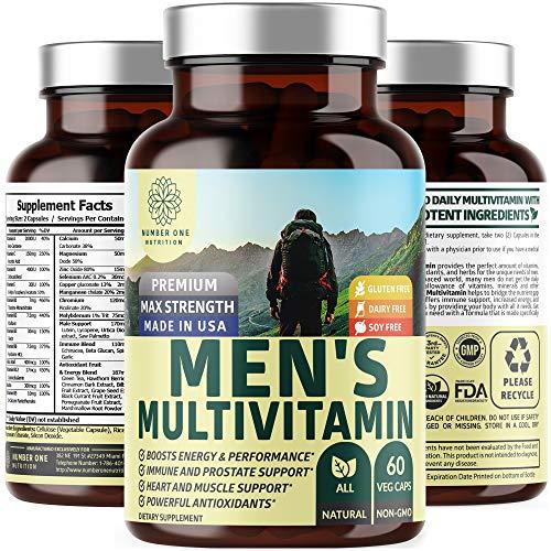 N1N Premium Men's Daily Multivitamin Multimineral Supplement [Gluten Free, Non-GMO], Vitamins A C E D B1 B2 B3 B5 B6 B12 Magnesium, Biotin, Sprulina, Noni & Zinc, Immune Health Antioxidants, 60 Caps