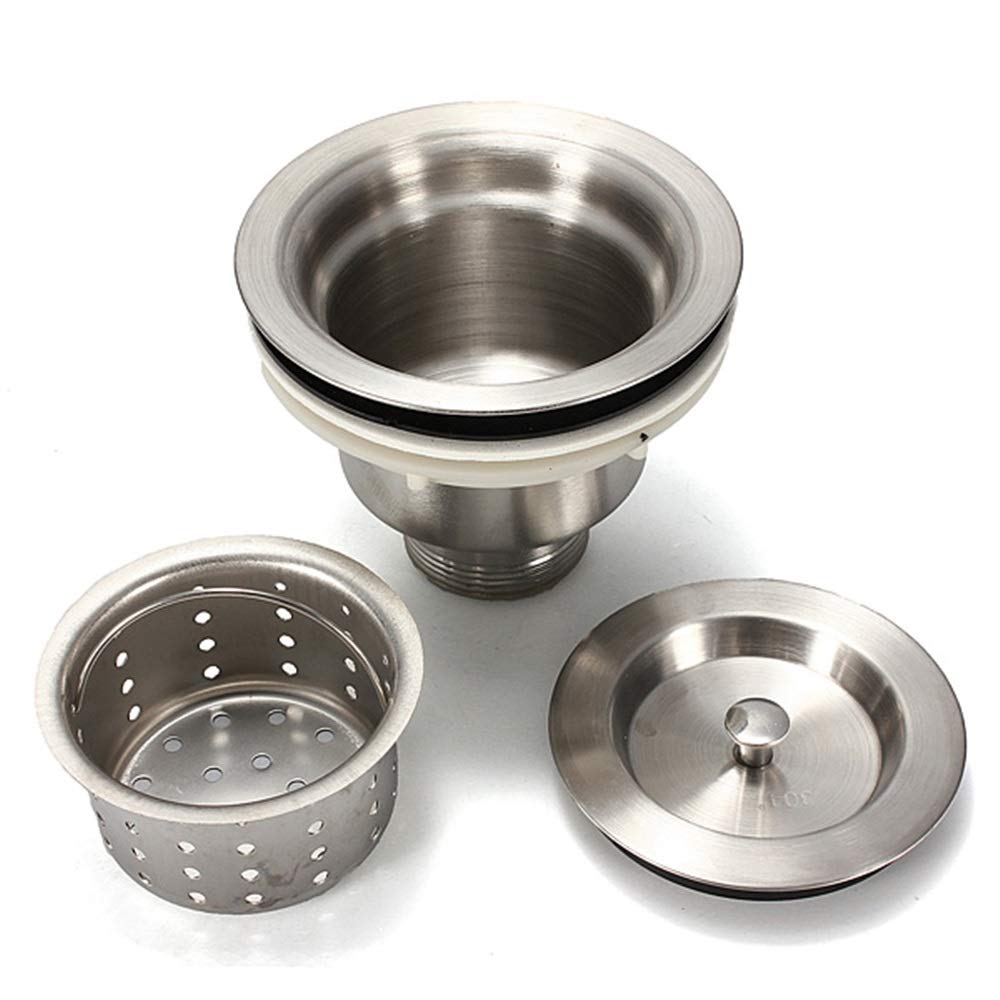 Tuersuer Easy to Assemble Stainless Steel Kitchen Water Sink Strainer Plug Drain Basket Accessories