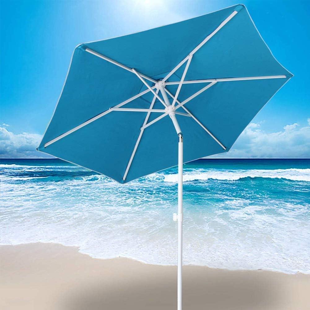 BAKAJI Ombrellone da Mare Spiaggia Giardino con Palo in Acciaio Reclinabile Rivestimento in Tessuto Anti UV Diametro 210 cm con Tracolla Custodia Turchese