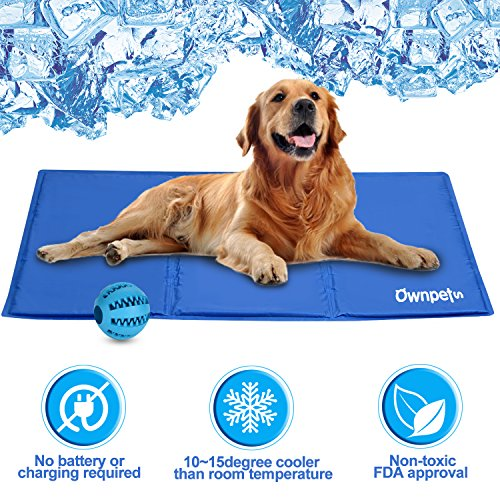 OWNPETS Pet Self Cooling Gel Pad/Cooling Mat, Anti-inflammatory, 100% Safe Non-toxic Materials, For All Dogs, Cats with Pet Toy Ball, 26x20 by OWNPETS