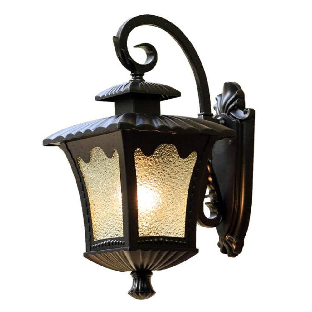 Vintage Wasserdichter Außenleuchte Schwarz Wandlampe Aluminiumguss Glas IP44 E27 Außenwandleuchte Gartenlampe Aussenbeleuchtung Hoflampe Eingangsbeleuchtung 44  27Cm