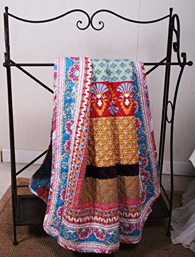 Finely Stitched Quilt Lap Throw Blanket Reversible Retro Bohemian Style Printed with Flowers Mandala Medallion Geometric Pattern Blue Red Yellow Luxury Bedding - Includes Bed Sheet Straps ()