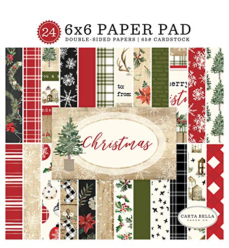 Carta Bella Paper Company CBCH89023 Christmas 6x6 Pad Paper, red, Green, Black, - Patterned Christmas