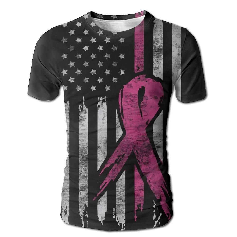 VN HNGD Breast Cancer Awareness Ribbons American Flag Men's Summer Fashion Short-Sleeve Crewneck T-Shirt Pullover