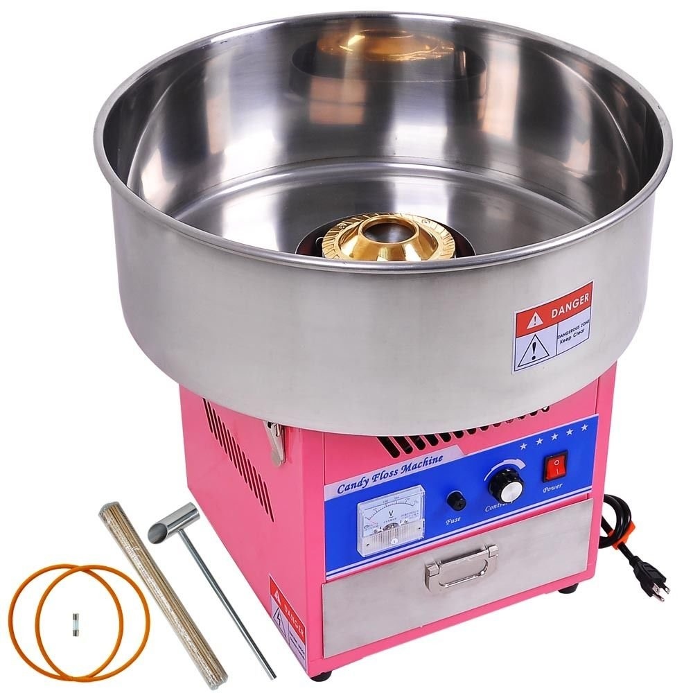 NEW 1050 Watt Pink Commercial Cotton Candy Machine w Stainless Steel Bowl by MTN Gearsmith