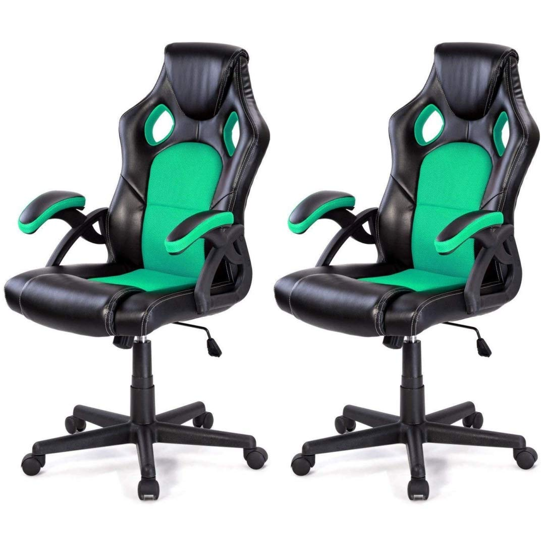 Modern Style High Back Racing Style Gaming Chairs Thick Padded Seat PU Leather Upholstery Adjustable Reclining Tilt Home School Office Furniture - Set of 2 Green #2126 by KLS14