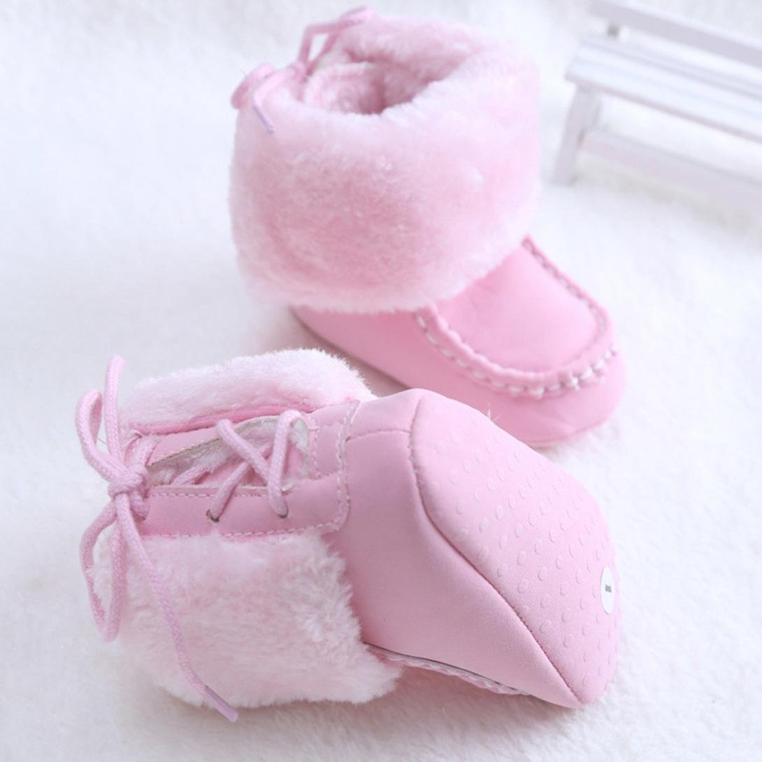 Amiley Toddler Baby Infant Super Warm First Walker Flats Snow Boot Crib Shoes