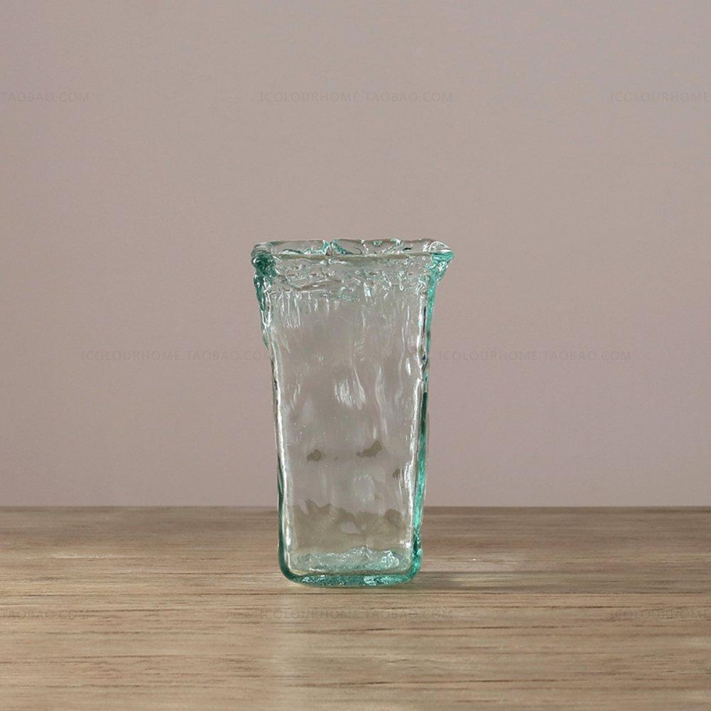 ヨーロッパのガラス花瓶,家の装飾 光の青のアート装飾-A B07CQHHPJL A A