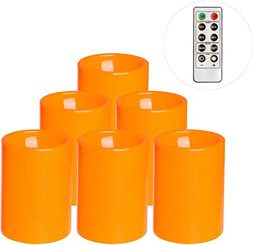 Flameless Flickering Plastic Led Candle, 6-Pack Battery Operated Pumpkin Color Remote Candle With Timer ,Fall, Autumn, Halloween Outdoor Decorations, 3×4 inch