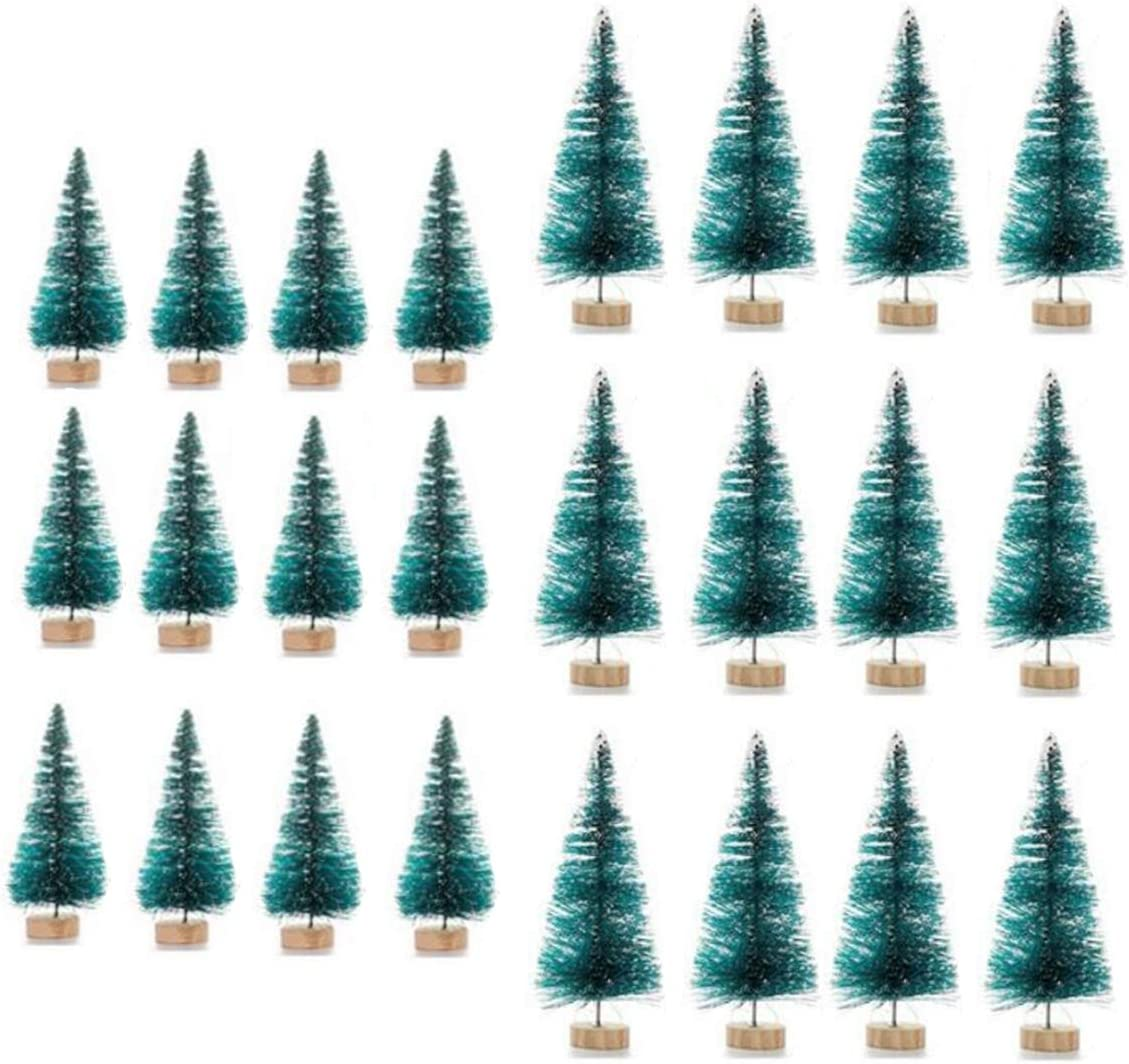 24 Pcs Mini Artificial Pine Trees Frosted Sisal Trees Christmas Tree with Wood Base Bottle Brush Trees Plastic Winter Snow Ornaments Tabletop Trees for DIY Room Decor Home Table Top Decoration