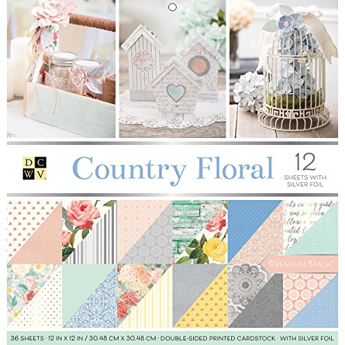 "DCWV Card Stock 12""X12"" Country Floral Premium Printed Cardstock Stack"