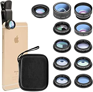 New fgzefort 11 in 1 Cell Phone Lens Kit Wide Angle Lens & Macro Lens+Fisheye Lens+Telephoto Lens+CPL/Flow/Radial/Star/Soft Filter+Kaleidoscope Lens Compatible for iPhone and Most of Smartphone