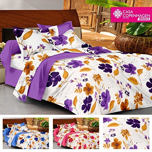 Casa Basics Ezy Collection Purple Floral Cotton Queen Bedsheet With 2 Pillowcases (Specially used for economic sheets for Home & Beach) Beach Sheet