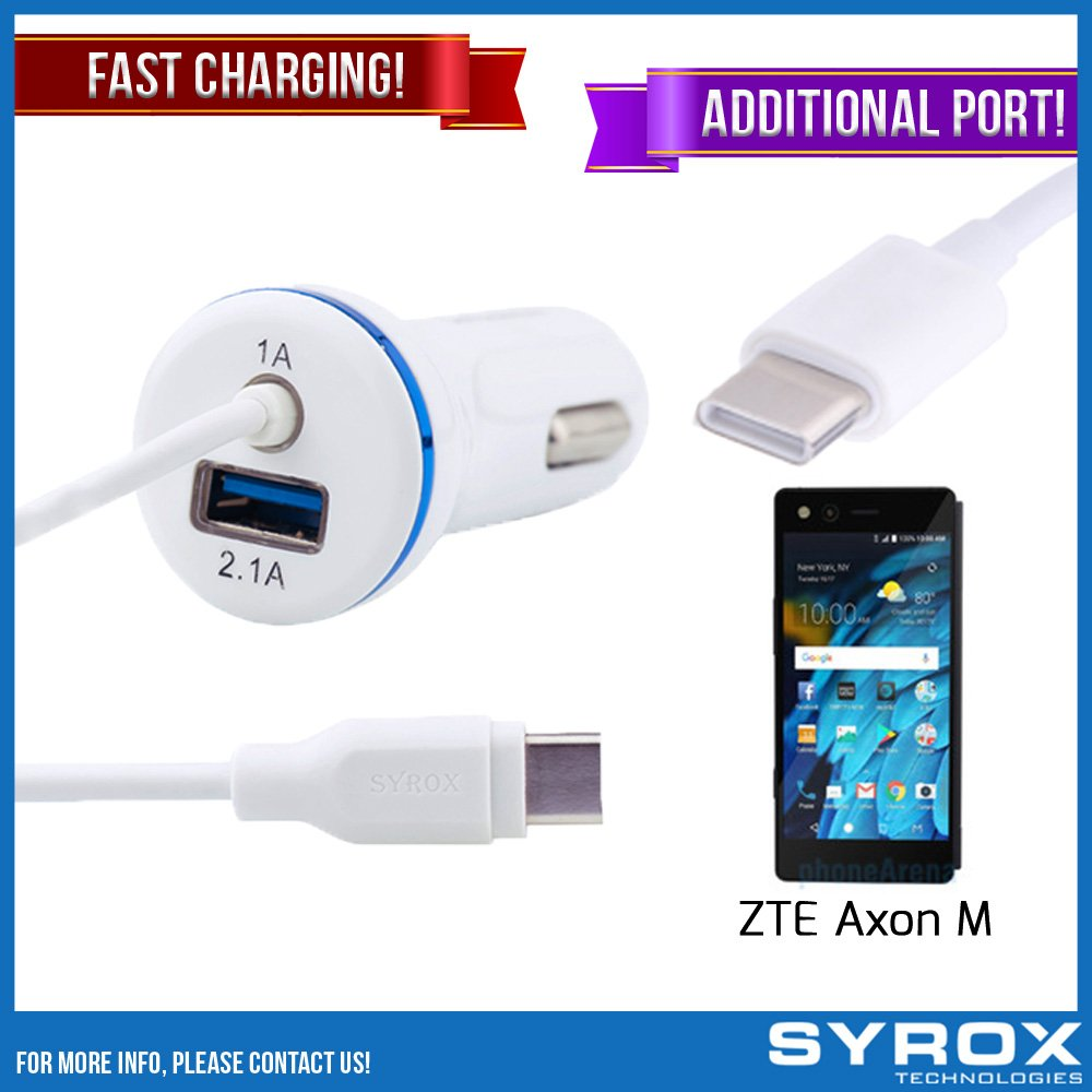 Syrox 50-Pack Type-C Car Charger & Port, Reversible 4 ft Fast Charging for ZTE Axon M, Samsung Galaxy Note 8, S8 Plus, LG V30, V20, G6, G5, Google Pixel, 6P, Nintendo Switch and All