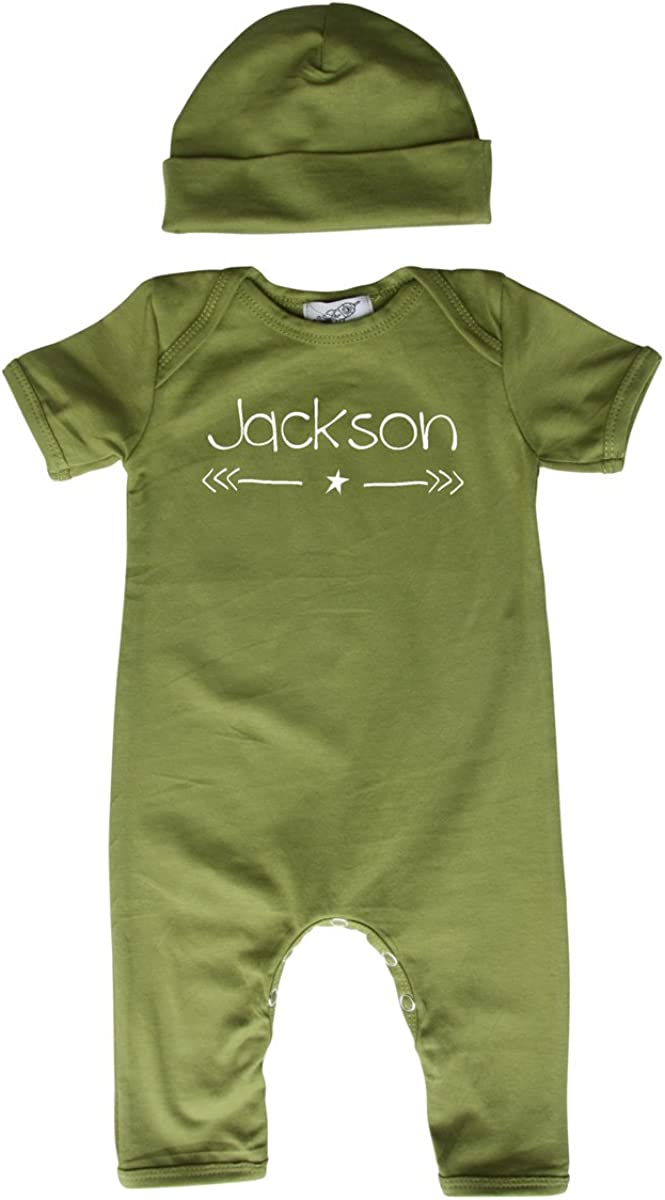 Personalized Rompers with Matching Hat for Boys, Girls, Gender Neutral