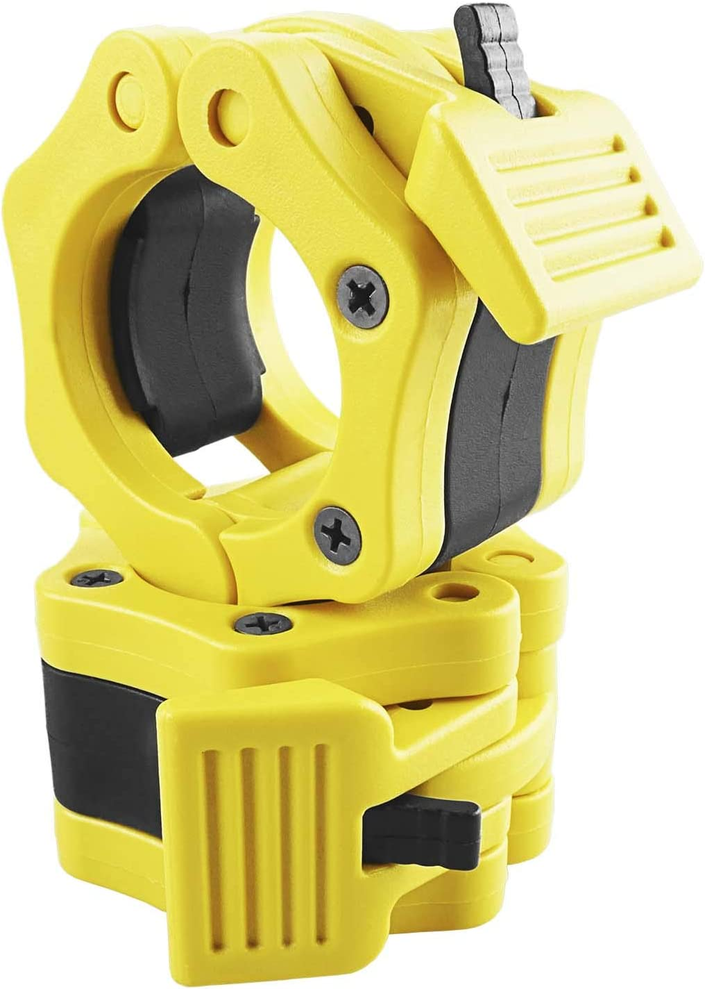 Siudo Olympic Barbell Clamp Pair of Locking 2 Size Exercise Collars for Workout Weightlifting Fitness Training Yellow
