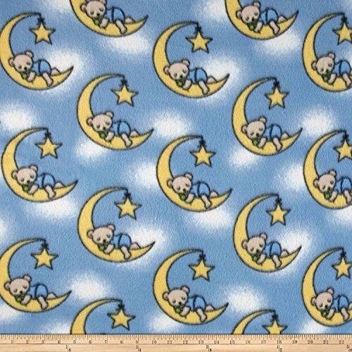 Fleece Dreamybear Blue Fabric By The Yard (Moon Fleece Fabric)
