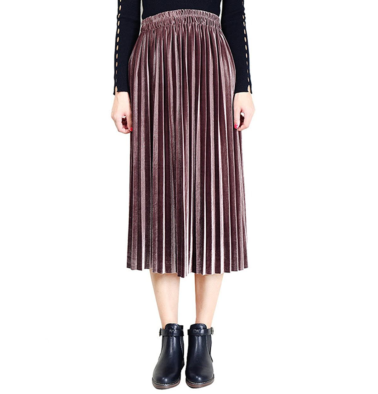 Brown Clarisbelle Women's Pleated Velvet Skirt Premium Metallic Shiny Shimmer Accordion Elastic High Waist Midi Skirt