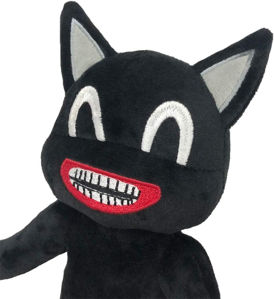 Black Cartoon Cat Plush Black Soft and Embrace Anime Cat Plush Toys Kids Birthday Christmas New Year Decoration Plush 12.6 inches