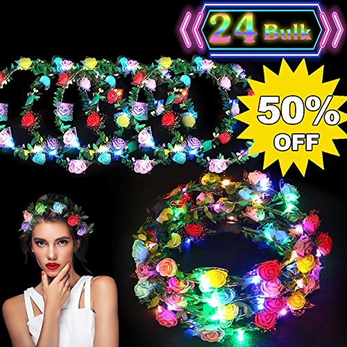 24 Pack LED Flower Crown Colorful Headdress LED Light Up Flower Wreath Headband Glow in The Dark Party Favors Flashing Garland for Girls Kids Women Dress Up Accessories for Birthday Wedding Parties]()