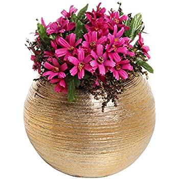 7-Inch Round Modern Gold-Tone Metallic Ceramic Plant Flower Planter Pot, Decorative Bowl Vase
