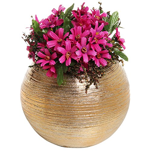 6.75 Inch Round Modern Metallic Gold Tone Ridged Ceramic Plant Flower Planter Pot, Decorative Bowl Vase (Metallic Flower)
