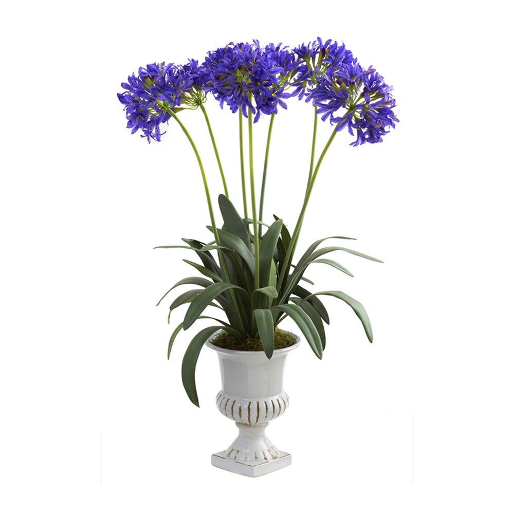 ほぼ自然ホーム室内装飾テーブルトップFancy African Lily With Urnパープル B00FYQAK1Y
