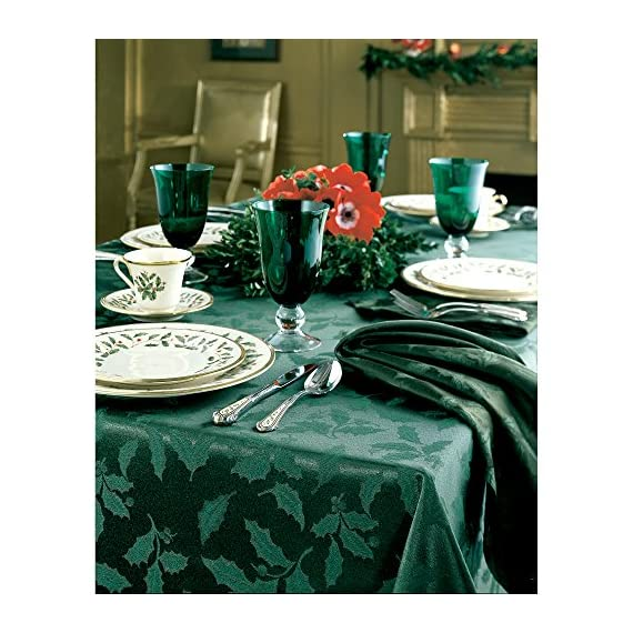 Lenox Holly Damask Tablecloth, 60 by 120-Inch Oblong/Rectangle, Green - Sophisticated and lovely Holly Damask linens from Lenox 58 percent cotton and 42 percent polyester background Features tone-on-tone holly leaves - tablecloths, kitchen-dining-room-table-linens, kitchen-dining-room - 61DZQkMacDL. SS570  -