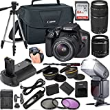 Canon EOS Rebel T6 DSLR Camera w/ 18-55mm & 75-300mm Lenses + LCD Display TTL SpeedLight Flash + Power Grip + 64GB Memory + Canon Case + Tripod + Remote + More - Professional Bundle