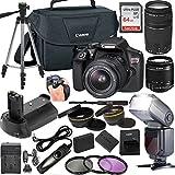 Canon EOS Rebel T6 DSLR Camera w/ 18-55mm & 75-300mm Lenses + LCD Display TTL SpeedLight Flash + Power Grip + 64GB Memory + Canon Case + Tripod + Remote + More - Professional Bundle