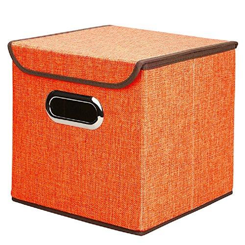 "UNIWIN Collapsible Storage Cube Foldable Box Drawers Basket Bins Lid Storage Containers Organizer Shelf 9.8""x9.8""x9.8"",Orange"