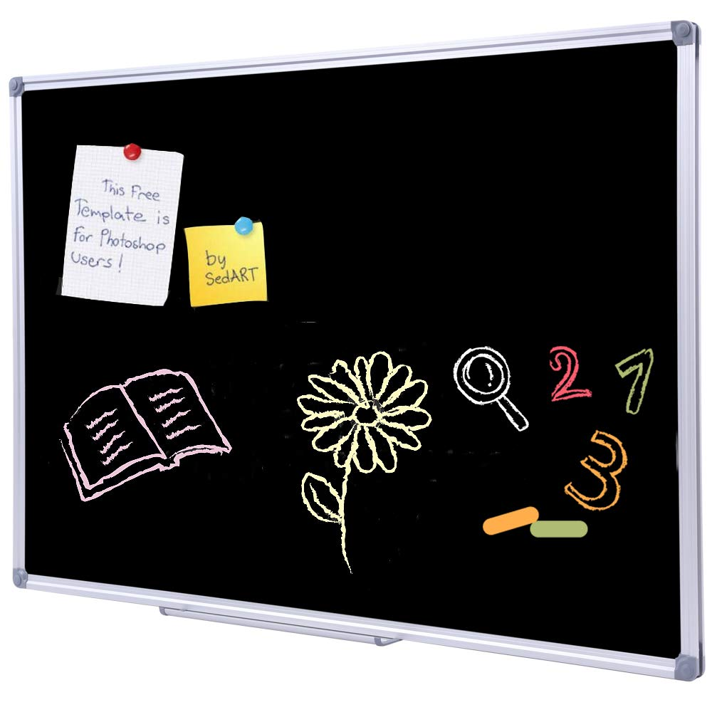 36 x 24 Inch Aluminum Frame Black Chalkboard for Wall | School Magnetic Blackboard with Sturdy Frame for Kids Teachers, Written on by Regular Chalk DexBoard