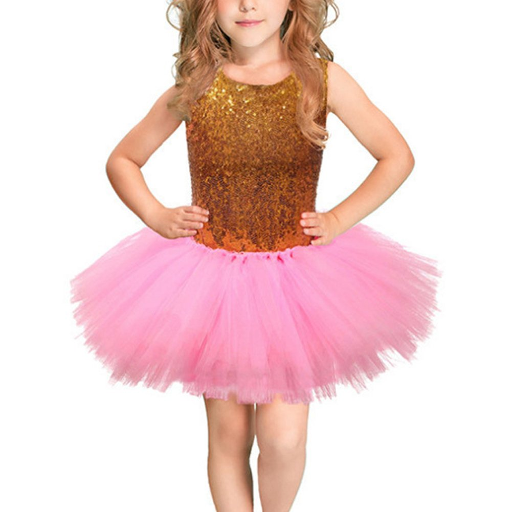 IBTOM CASTLE Flower Girl Dress for Wedding Birthday Party Pageant,Fluffy Tulle with Sequin,Soft Lining No Itch,2-8T Gold + Pink 7-8 Years