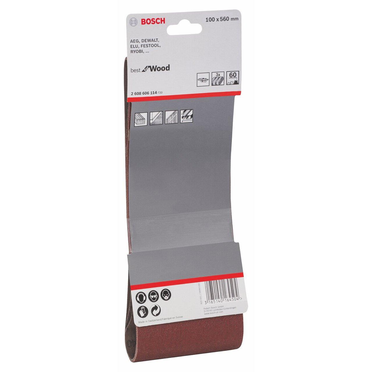 Set de 3 bandas lijadoras 100 x 560 mm, 60 Bosch 2 608 606 114