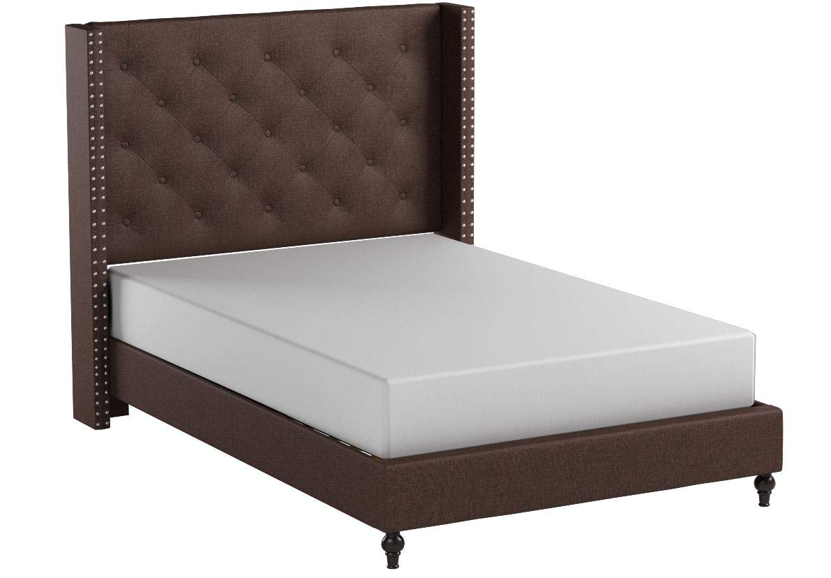 Home Life Premiere Classics Cloth Brown Linen 51'' Tall Headboard Platform Bed with Slats Queen - Complete Bed 5 Year Warranty Included 007