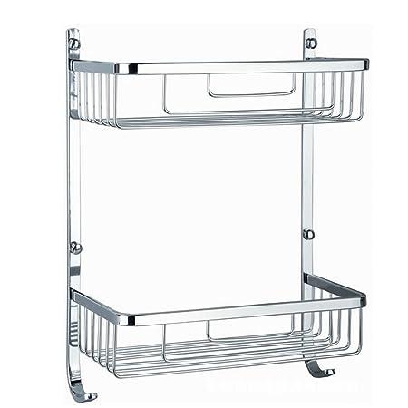 Bathroom Shelf, TEERFU Wall Mounted Shower Shelf Basket 2 Tier Stainless  Steel With Hooks