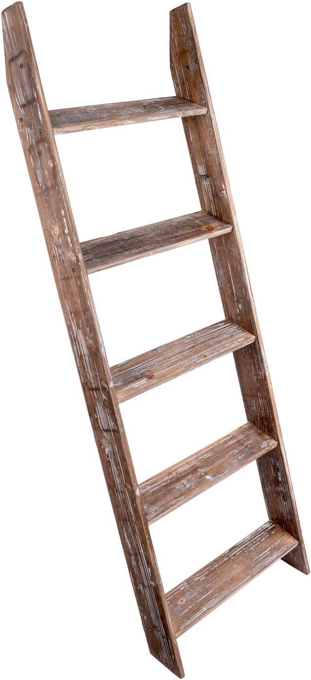 Rustic Wood Wall Leaning Blanket Ladder, Decorative Ladder, Leaning Shelf, Blanket Rack, 4.5 Foot Storage Ladder