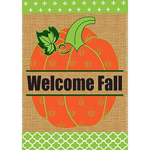 Welcome Fall Fleur de Lis Pumpkin 18 x 13 Rectangular Burlap Double Applique Small Garden Flag Review