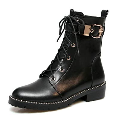 Studded Ankle Boot Women Genuine Leather Lace Up Buckle Strap Closed Toe  Low Heel Side Zipper 930884f61b13