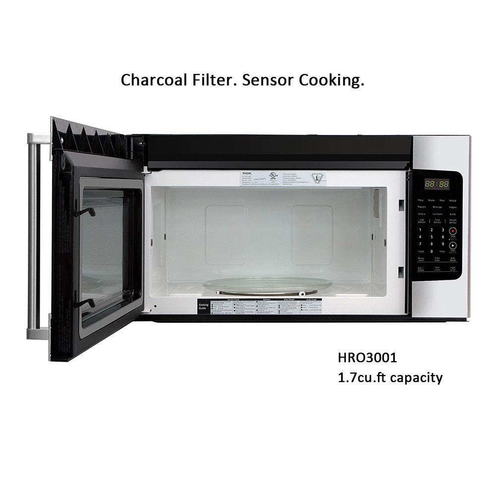 Thor kitchen 30micor 30in. W 1.7 cu. ft Over the Range Microwave in Stainless Steel with Sensor Cooking OTR, Large, by Thor Kitchen (Image #3)